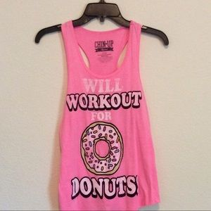 Tops - 2/$10 Will Workout for Donuts Tank Top